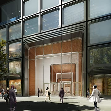 55 Hudson Yards, an office tower designed by A. Eugene Kohn of Kohn Pedersen Fox and Kevin Roche of Kevin Roche John Dinkeloo and Associates, will include a tenth-floor terrace level overlooking the High Line. (related-oxford)